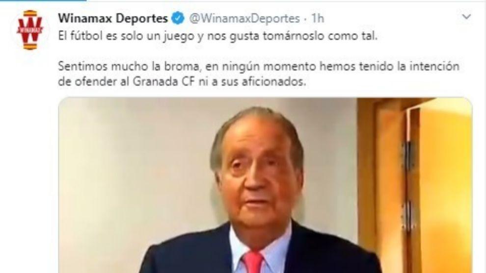 El Winamax se disculpa con el Granada usando al Rey Juan Carlos y la vuelve a liar