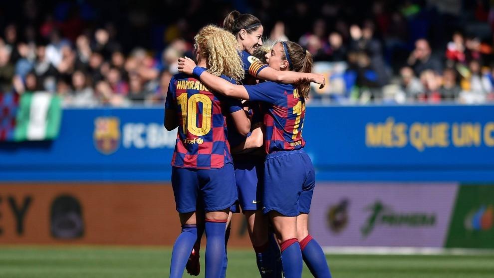 Vicky Losada, celebra un gol con el Barcelona en la pasada Liga.