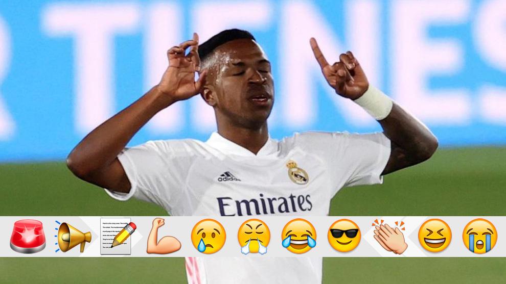 Vinícius celebra su gol al Valladolid