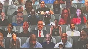 Imagen de la grada virtual de la burbuja de Orlando