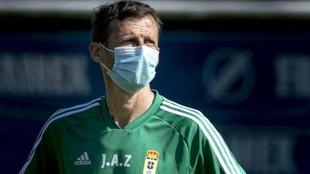 Ziganda, en un entrenamiento con el Oviedo.
