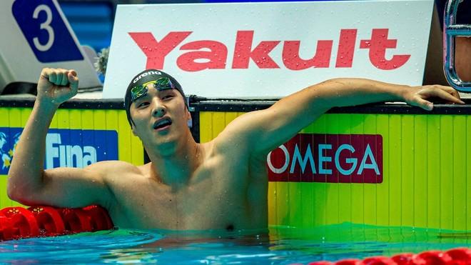 Daiya Seto, celebrando uno de sus triunfos en los Mundiales de 2019.