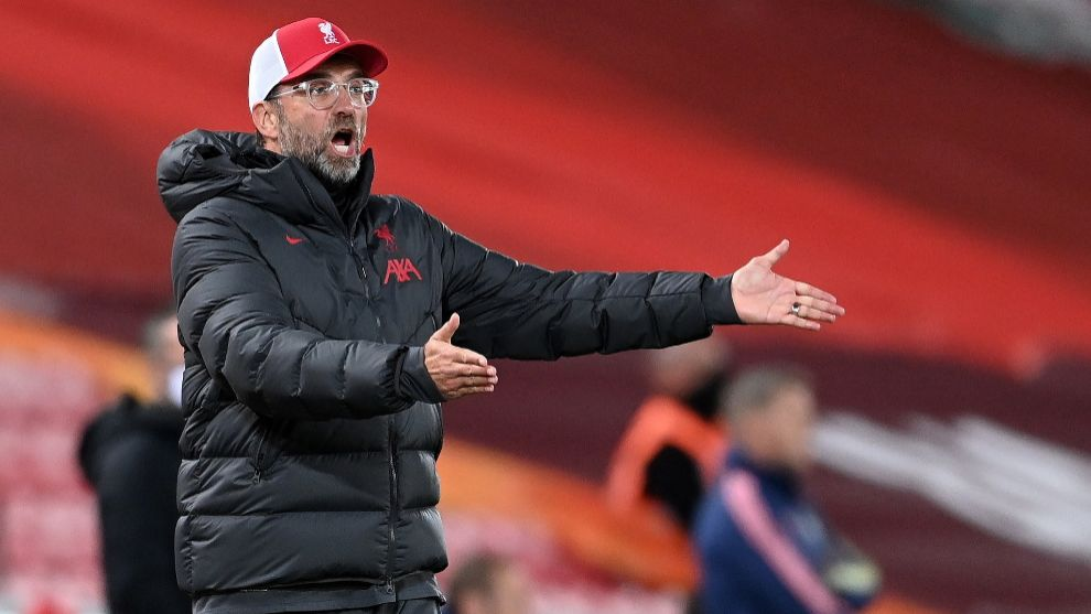 lt;HIT gt;Liverpool lt;/HIT gt; (United Kingdom), 01/10/2020.- lt;HIT gt;Liverpool lt;/HIT gt;s manager Juergen Klopp reacts during the English Carabao Cup 4th round soccer match between lt;HIT gt;Liverpool lt;/HIT gt; FC and Arsenal FC in lt;HIT gt;Liverpool lt;/HIT gt;, Britain, 01 October 2020. (Reino Unido) EFE/EPA/Laurence Griffiths / POOL EDITORIAL USE ONLY. No use with unauthorized audio, video, data, fixture lists, club/league logos or live services. Online in-match use limited to 120 images, no video emulation. No use in betting, games or single club/league/player publications