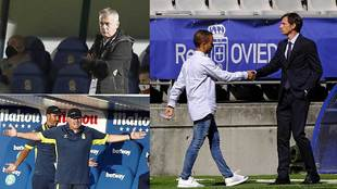 Lucas Alcaraza, Pepe Mel y Ziganda saludando a Borja Jiménez, su...