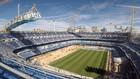 El Santiago Bernabéu, en el pasado mes de agosto, en pleno montaje de...
