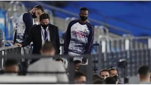 Rodrygo, en la grada del Di Stéfano, en el partido contra el...