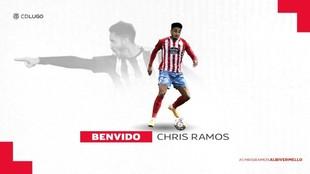 Cartelería con la que el CD Lugo anuncia el fichaje de Chris Ramos.