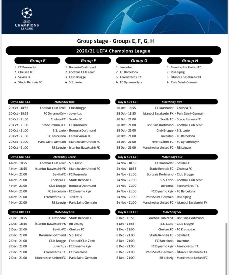 Champions League 2020 21 Calendar Real Madrid Barcelona Atletico Madrid And Sevilla Fixtures Marca In English