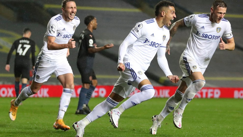 Rodrigo celebra su gol al City