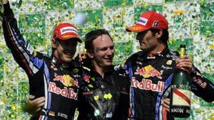 Vettel, Horner y Webber.