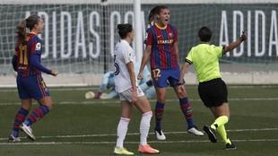 Patri Guijarro celebra el primer gol del partido ante el Real Madrid.