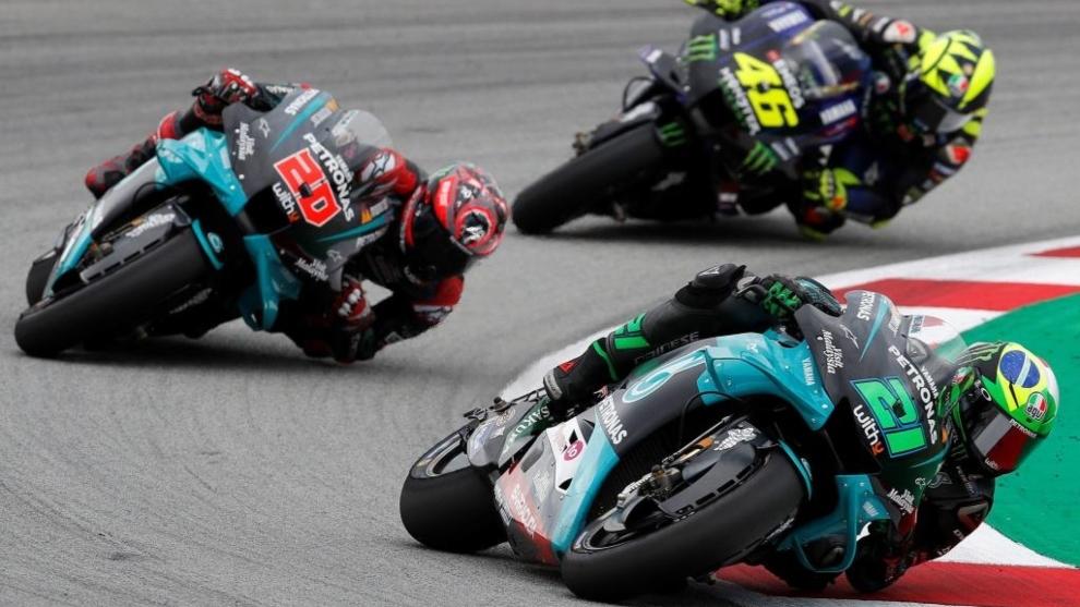 Morbidelli, Quartararo y Rossi.