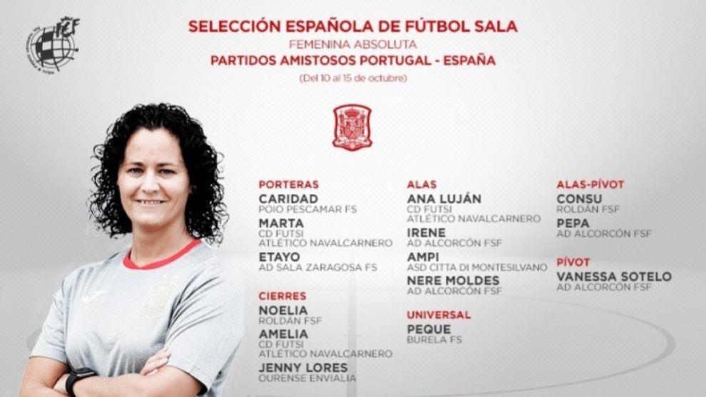 Lista de convocadas de la Selección Española de Fútbol Sala