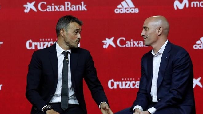 Luis Enrique y Luis Rubiales, durante la presentación del nuevo...