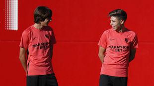 Bryan Gil y Pozo, en un entrenamiento del Sevilla.