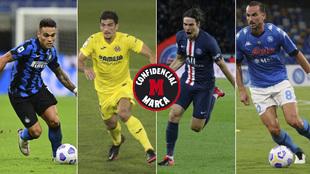 Lautaro, Gerard Moreno, Cavani y Fabián