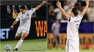 Chicharito Hernández y Zlatan Ibrahimovic con la camiseta de Galaxy