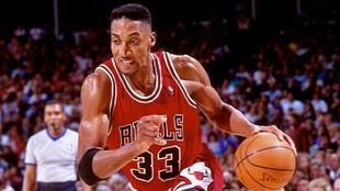 Scottie Pippen, en un partido de los Bulls.