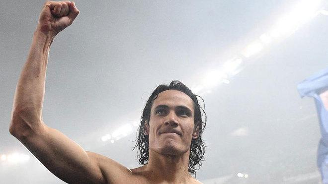 Cavani celebra un triunfo con el PSG.