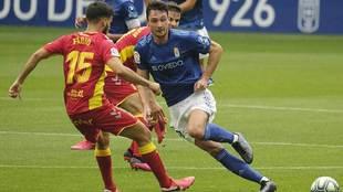 Borja Sánchez, durante el últmo partido del Oviedo ante Las Palmas