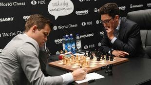 Magnus Carlsen y Fabiano Caruana, en un torneo anterior.