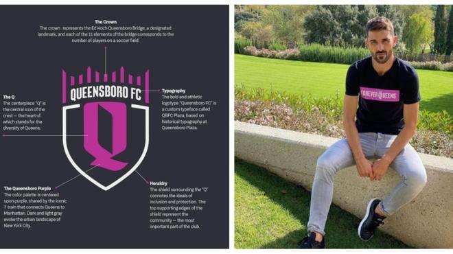 David Villa junto al escudo del Queensboro FC.