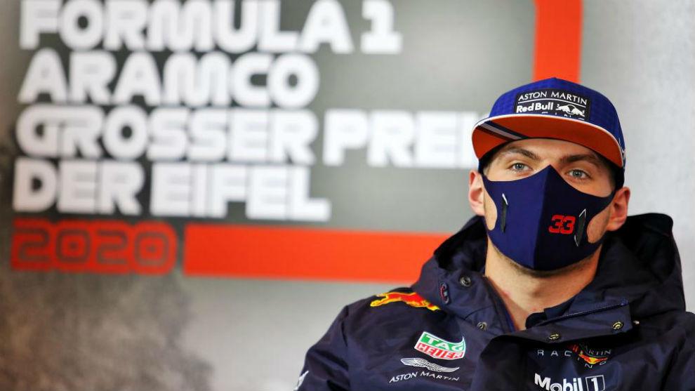 Max Verstappen, durante la rueda de prensa de Red Bull en el GP de...