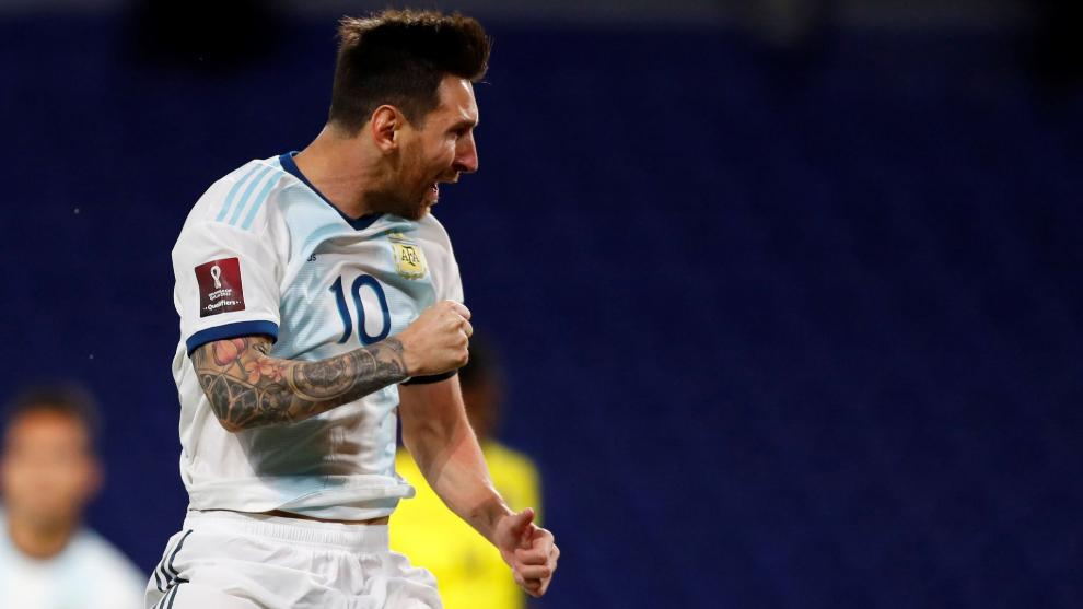 Leo Messi celebrando el 1-0 ate Ecuador
