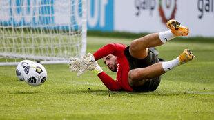 Lopes, entrenando con Portugal.
