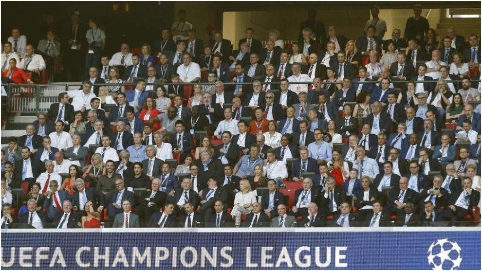 El presidente de UEFA, Alksander Ceferin, durante la final de...