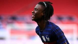 Camavinga, en el Francia-Ucrania en el que anotó su primer gol.