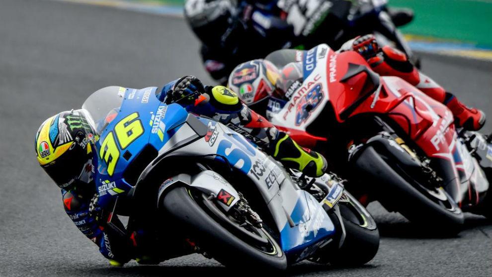 Mir, delante de Miller y Viñales en Le Mans.