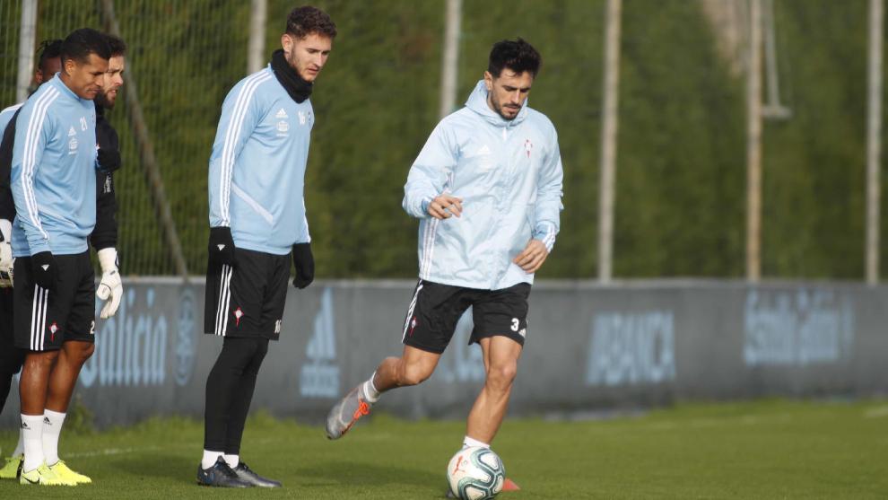 Jorge Sáenz y David Costas en una sesión de entrenamiento del Celta...
