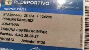 El carnet de socio deportivista del presidente del Fuenlabrada