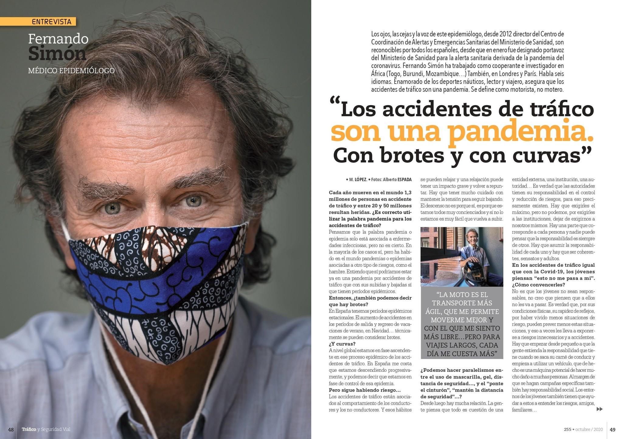 La entrevista a Simón en la revista 'Tráfico y Seguridad Vial'.