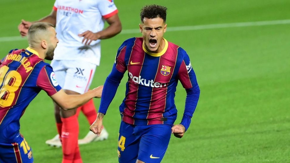 Coutinho celebra su gol al Sevilla