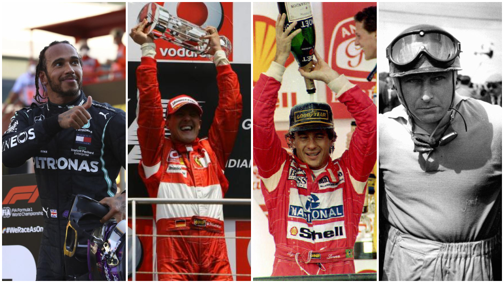 Hamilton, Schumacher, Senna y Fangio.