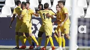 Mamadou Sylla celebra con sus compañeros el gol en Butarque