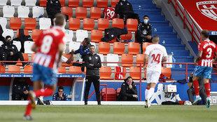 Juanfran, durante el partido ante el Mallorca... el último suyo
