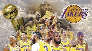 Montaje con las leyendas de los Lakers y los jugadores que han ganado...