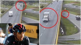 Imágenes duras: un camión mata a un ciclista tras tirarlo por un puente y Bernal estalla