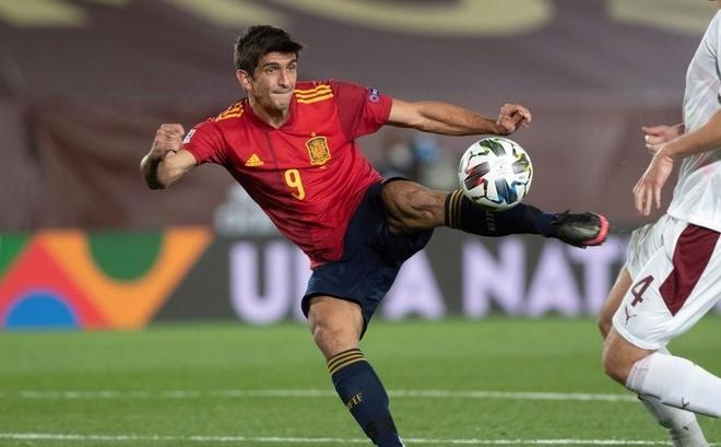 Gerard Moreno durante un partido con España.