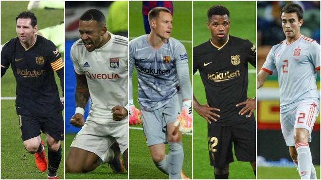 Messi, Depay, Ter Stegen, Ansu Fati y Eric García.