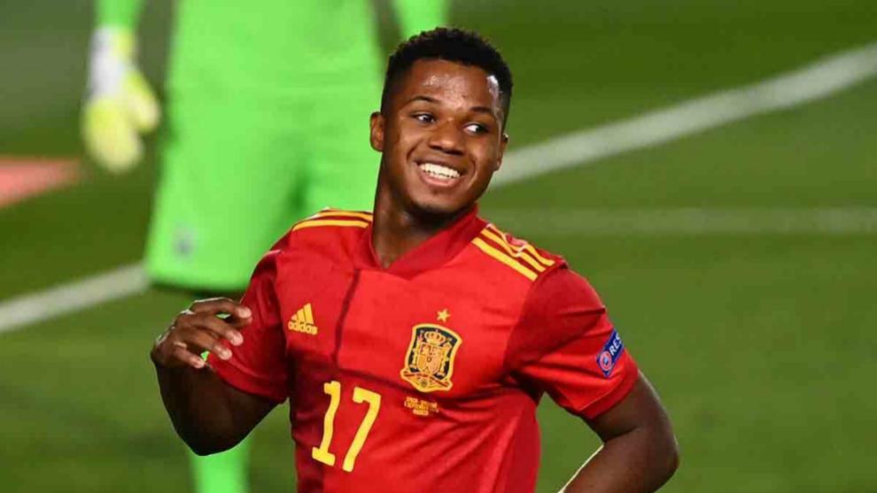 Ansu Fati en un encuentro con la Selección Española.
