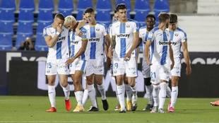 Los jugadores del Leganés celebran un gol esta temporada.