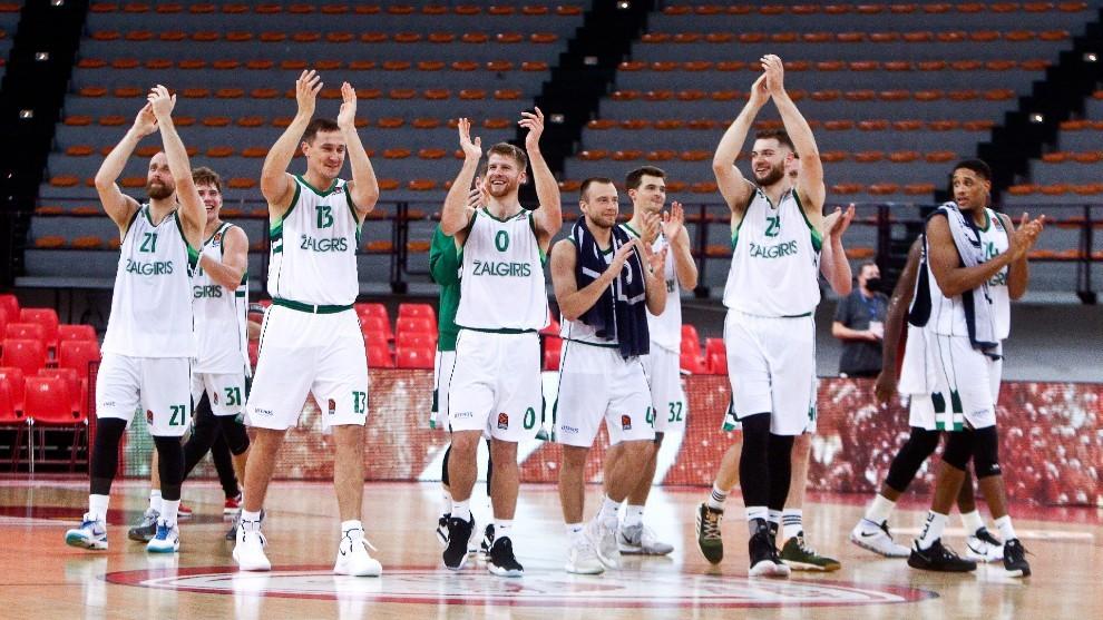 Los jugadores del Zalgiris tras un triunfo