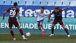 Pep Chavarría durante el partido contra el Albacete.