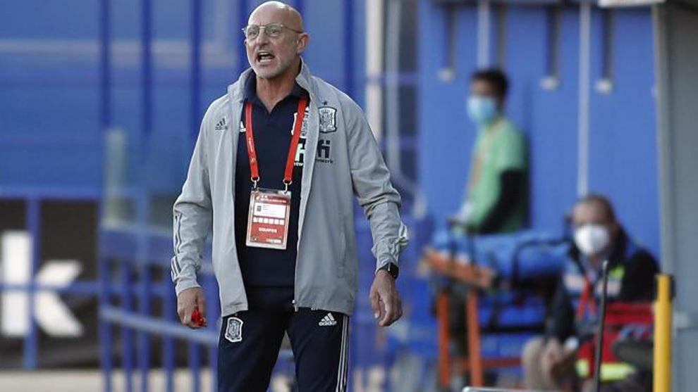 Luis de la Fuente durante el partido ante Kazajistán.