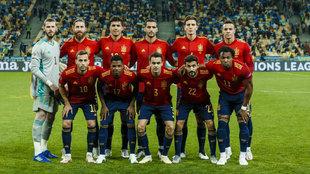Seleccion de España en el partido con Ucrania