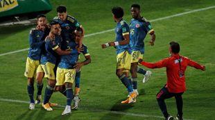 Celebración de Colombia en el último tanto.